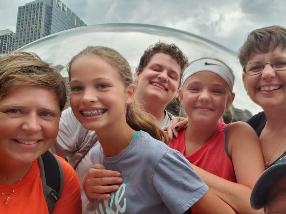 """High school youth group at the """"Bean"""" in Chicago"""
